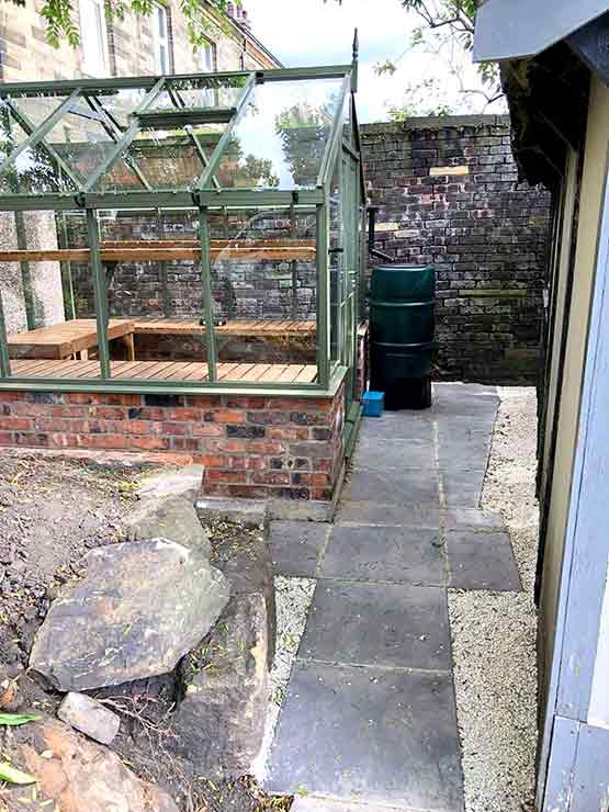 Greenhouse and garden path