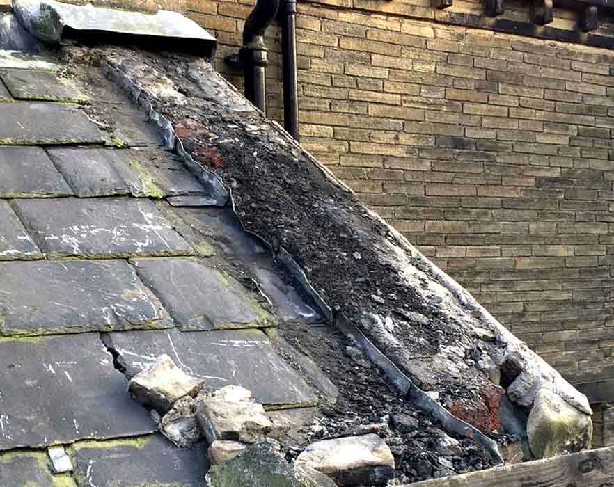 Crumbling Stonework on Roof-in-Halifax
