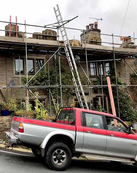 Scaffolding on Roofing Job